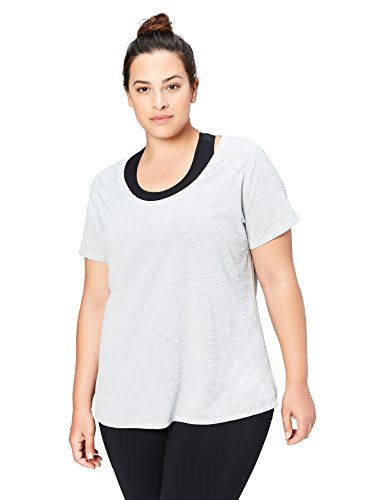 (Amazon Brand - Core 10 Women's Plus Size 'Lighter Than Air' Performance T-Shirt (XS-XL, Plus Size 1X-3X), Light Grey Heather, 1X)