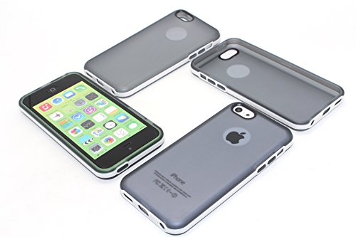 For iPhone 5C Soft Silicone Clear Cases, EZstation (TM) iPhone 5C Colorful Slim Fit Color Back Skin Cover Cases, Snap-On TPU Back Case Cover Skin for Apple iphone 5C (1 X Grey Case)