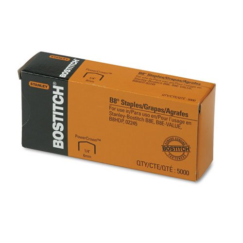 Bostitch B8 PowerCrown 0.25 Inch Staples, Pack of 5,000 Staples (STCRP21151/4)