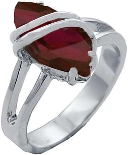 Red CZ 5.0 cw Marquise Cut with Non-Tarnishing Rhodium Finish July Birthday Ring