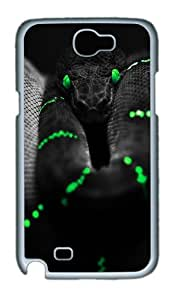 Black Snake Green Eyes Custom Designer Samsung Galaxy Note 2/Note II / N7100 Case Cover - Polycarbonate - White