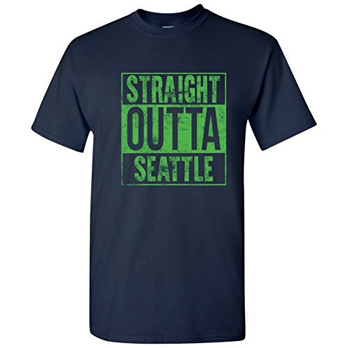 UGP Campus Apparel Straight Outta Seattle T-Shirt - X-Large - Navy (Seattle Seahawks Shirt)