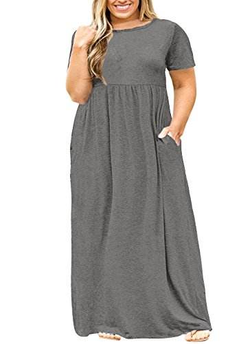 Nemidor Women Short Sleeve Loose Plain Casual Plus Size Long Maxi Dress with Pockets (Grey, 24W)