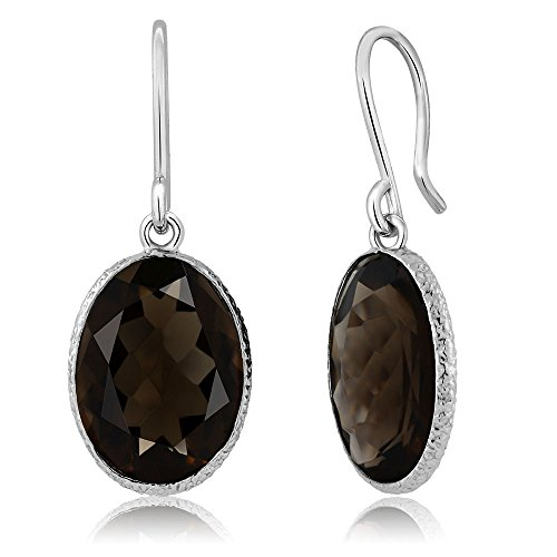 Gem Stone King 10.00 Ct Smokey Quartz 10x14mm Oval Shape 925 Silver Dangle Earrings