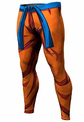 RF Sports Active Pants Anime Dragon Ball Goku Kakarot and Begeta Style Leggings Yoga Pants for Running Sports Fitness Gym (L, Orenge)