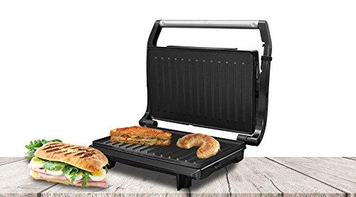 SogoSS-7122Appareil à croque-monsieur/panini avec grill électrique de 750W Surface antiadhésive de 27x 23cmNoir