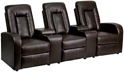 BOWERY HILL 3 Seat Home Theater Recliner in Brown