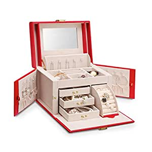 Vlando Mirrored Wooden Jewelry Box Organizers for Girls Women - Necklaces Earrings Rings Watches Storage Case Holder - Vintage