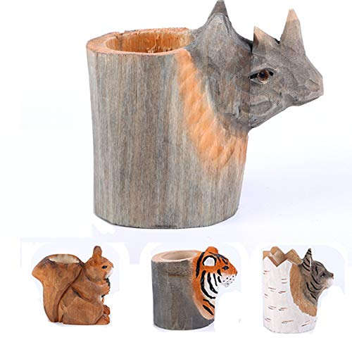 (uhmhome Handmade Pen Pencil Holder Cup Cute Wood Desk Organizer Storage Box Makeup Brush Holder Kitchen Utensil Holder Ornament Animal Pattern for Home and Office (Rhinoceros))