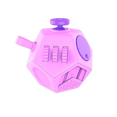 Minilopa Fidget Dodecagon 12 Side Fidget Toy Cube Small Size Cube Relieves Stress and Anxiety Anti Depression Cube for Children and Adults with ADHD ADD OCD Autism (F1 Small Pink)