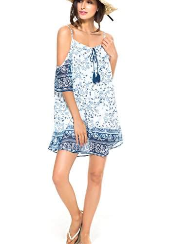 PERSUN Women's Dark Blue Cold Shoulder Digital Floral Print Cami Shift Beach Dress,Large