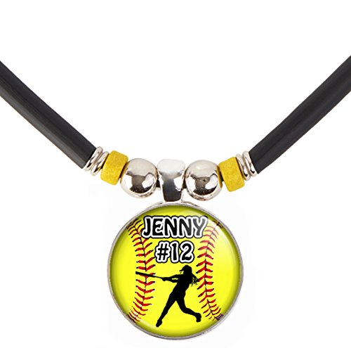 Softball Batter Charm Necklace- Girls and Women's Softball Pendant Jewelry - Customized Softball Necklace with Name and Number- Perfect for Softball Players, Softball moms, Softball Teams and Coaches