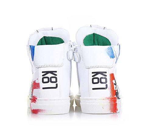 BE KOOL - Weißer Sneaker mit Schnürsenkeln, von der Welt der Street Art inspiriert, seitlich ein Reißverschluss, Metall-Ösen, zweifarbige Schnürsenkel, Unisex Kinder