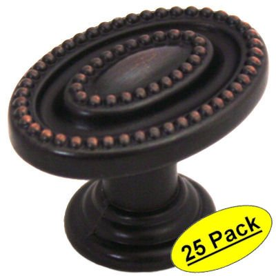 Beaded Cabinet Knob - Cosmas 4886ORB Oil Rubbed Bronze Oval Beaded Cabinet Knob, 25 pack