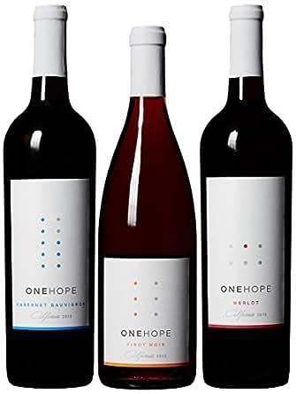 ONEHOPE California Reds Wine Mixed Pack, Includes California Merlot, Pinot Noir, Cabernet Sauvignon, 3 Pack 3 x 750 mL