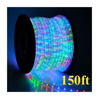 Rainbow 2 Wire Outdoor Home Indoor Cuttable LED Rope Light 150ft