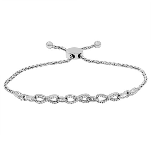 AGS Certified 1/4ct TW Diamond Infinity Bolo Bracelet in .925 Sterling Silver