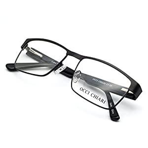OCCI CHIARI Men Rectange Optical Eyewear frames With Clear Lenses(BLACK, 54)