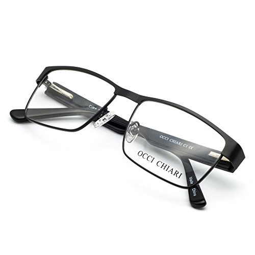OCCI CHIARI Men Rectange Optical Eyewear frames With Clear Lenses(BLACK, - Rectangular Mens Glasses