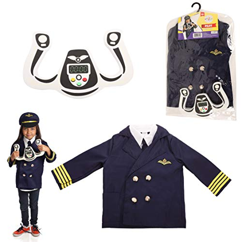 Dress 2 Play Pilot Pretend Costume, Dress up Set with Accessories -