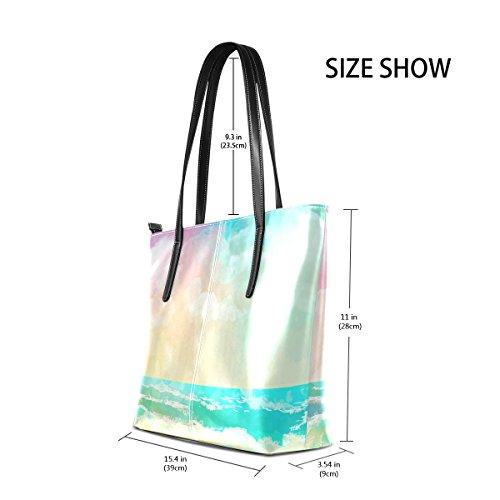 COOSUN Fantastische Sea Beach Landschaft PU Leder Schultertasche Handtasche und Handtaschen Tasche für Frauen