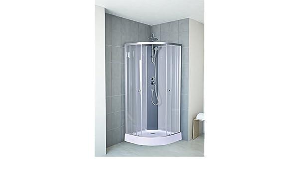 Ducha completa montada de DUSAR Helena, de 85 x 85 cm, 225 cm de alto, con alcachofa redonda ducha, con forma de cuarto de círculo, paredes completamente cerradas: Amazon.es: Bricolaje y herramientas
