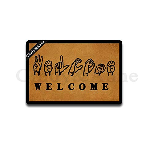 Tdou American Sign Language Welcome Doormat Custom Home Living Decor Housewares Rugs and Mats State Indoor Gift Ideas 23.6 by 15.7 Inch Machine Washable Fabric Top]()