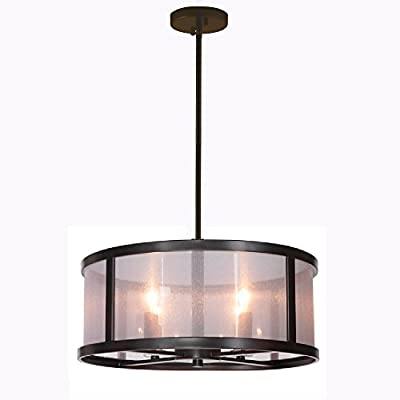 "Danbury 18"" Danbury 4 Light Semi Flush Mount Light Fixture with Organza Wrapped Fabric, Matte Black Ceiling Light Fixture Pendant Chandelier"