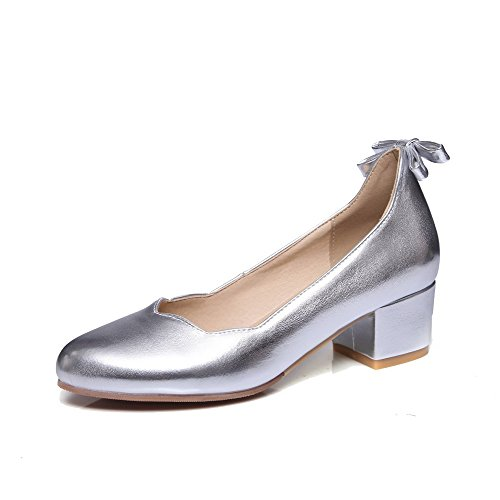 Pull Heels Silver Shoes Pumps Closed Pointed WeenFashion Women's Toe Pu Kitten Solid On zRIPqf