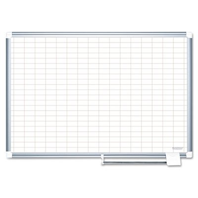 Grid Planning Board, 1x2'''' Grid, 72x48, White/Silver, Sold as 1 Each