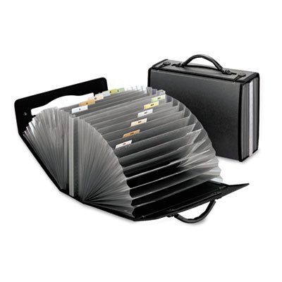 - Document Carry Case, Poly, 26 pockets, 4 5/8 x 13 1/8 x 10 1/4, Smoke, Sold as 1 Each
