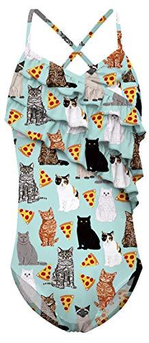 AIDEAONE Toddler Girls Cat One Piece Swimsuits Ruffle Swimwear Beach Bathing Suit 4T