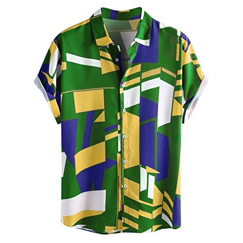 iHPH7 Men's Short Sleeve Button Down Shirt Contrast Color Geometric Printed Turn Down Collar Short Sleeve Loose Shirts (XL,Green) (The Man With The Golden Arm Kung Fu)