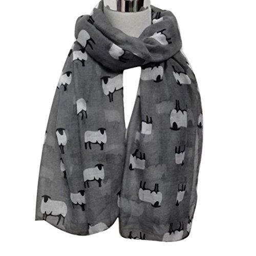 Women Fashion Cute Sheep Print Scarf Long Soft Scarf Wrap Shawl Stole Scarves (Gray)