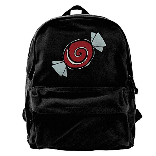 Hghthyuir 50% Off Unisex Classic Canvas Backpack Red Candy Halloween Unique Print Style,Fits 14 Inch Laptop,Durable,Black