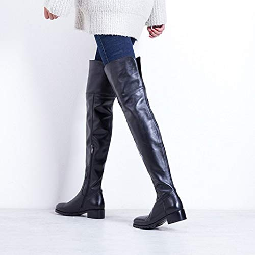 Reitstiefel Overknee Block Sexy Flache Frauen Low Echtes Ferse Reiten plusvelvet Taktische Black EU34 Stretch Stiefel Casual Stiefel UK2 Hohe Leder Reißverschluss wqvEXA