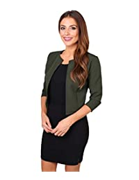 KRISP Women's Elegant Tailored 3/4 Cropped Open Shrug Blazer Bolero Party Jacket