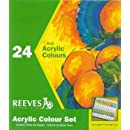 Reeves Acrylic Paint Set, 10 ml Tubes, Assorted Colors, Set of 24