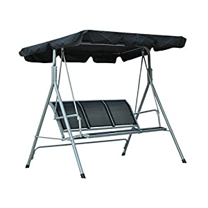 Outsunny Garden 3 Seater Metal Swing Chair Hammock Canopy Oustdoor Swinging Seat Bench Seat (Black)
