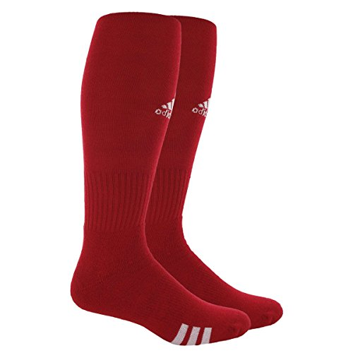 adidas Rivalry Field Multi-Sport Socks (2-Pack), University Red/White, Large