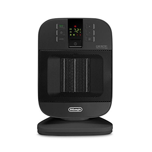 DeLonghi 5120 BTU Ceramic Compact Electric Space Heater with Thermostat and Energy Saving Setting (black)