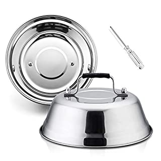 HaSteeL 9 Inch Cheese Melting Dome, Small Round Basting Steam Cover Set of 2, Professional Stainless Steel Griddle Grill Accessories for Flat Top BBQ Indoor & Outdoor, Heavy Duty & Dishwasher Safe