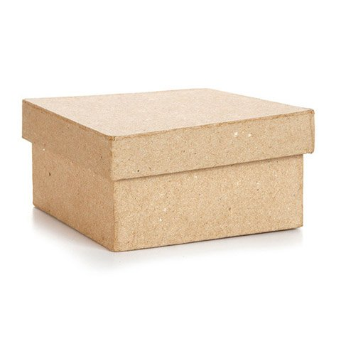 Bulk Buy: Darice DIY Crafts Paper Mache Box Square 4 x 4 x 2 in (6-Pack) 2833-36 Inc.
