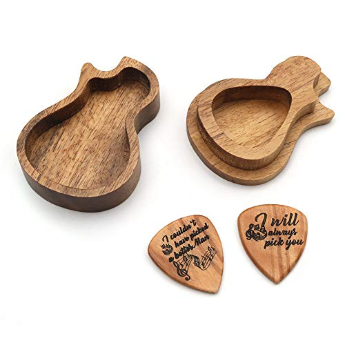 Muslady Wooden Guitar Pick Box Holder Collector with 2pcs Wood Picks