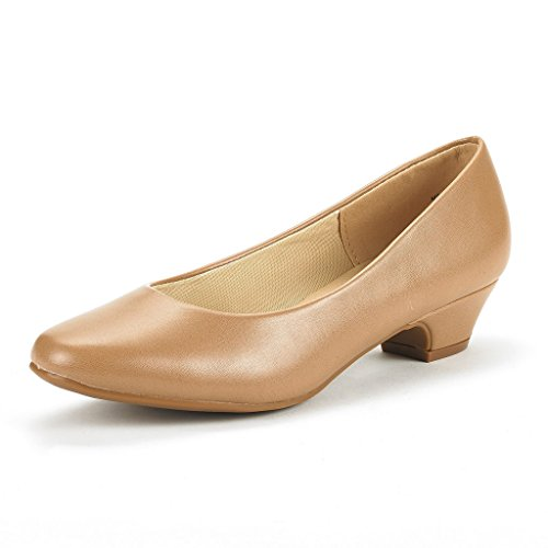 DREAM PAIRS Womens Mila Low Chunky Heel Pump Shoes Nude Pu 2i2Qc