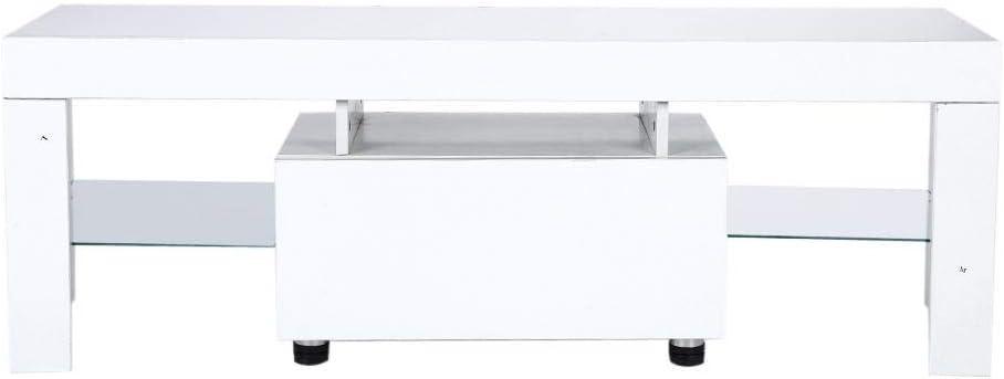 Ausla - Mueble de TV para televisor moderno con tiras LED RGBW y mando a distancia (130 x 35 x 45 cm), color blanco: Amazon.es: Hogar