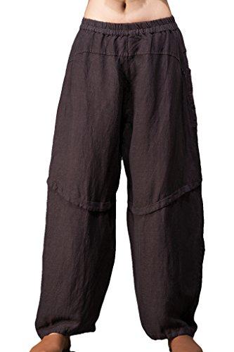 OUTLINE Women's Vintage Linen Wide Leg Pants Baggy Harem Pants with Pockets Coffee (Wide Leg Linen Blend Pants)