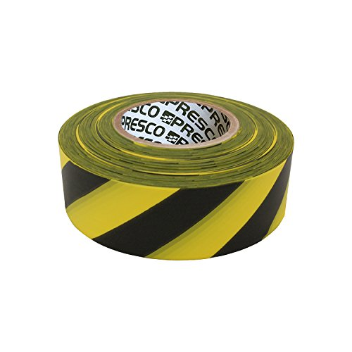 Presco Stripe Patterned Roll Flagging Tape: 1-3/16 in. x 300 ft. (Yellow and Black Stripes)