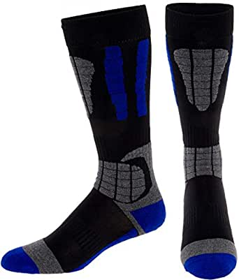 LISH Men's Ski Socks - Over The Calf Thermal Snow Socks for Snowboarding and Skiing (Blue, M/L)