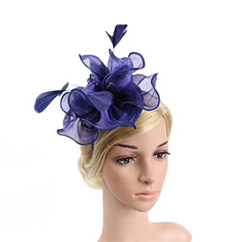 age Flower Fascinator Hats Mesh Ribbons Floral Feather Wedding Hat Cocktail Tea Party Headwear with Headband Clip (Navy) ()